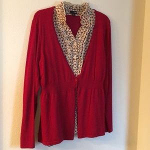 Sweater with attached blouse
